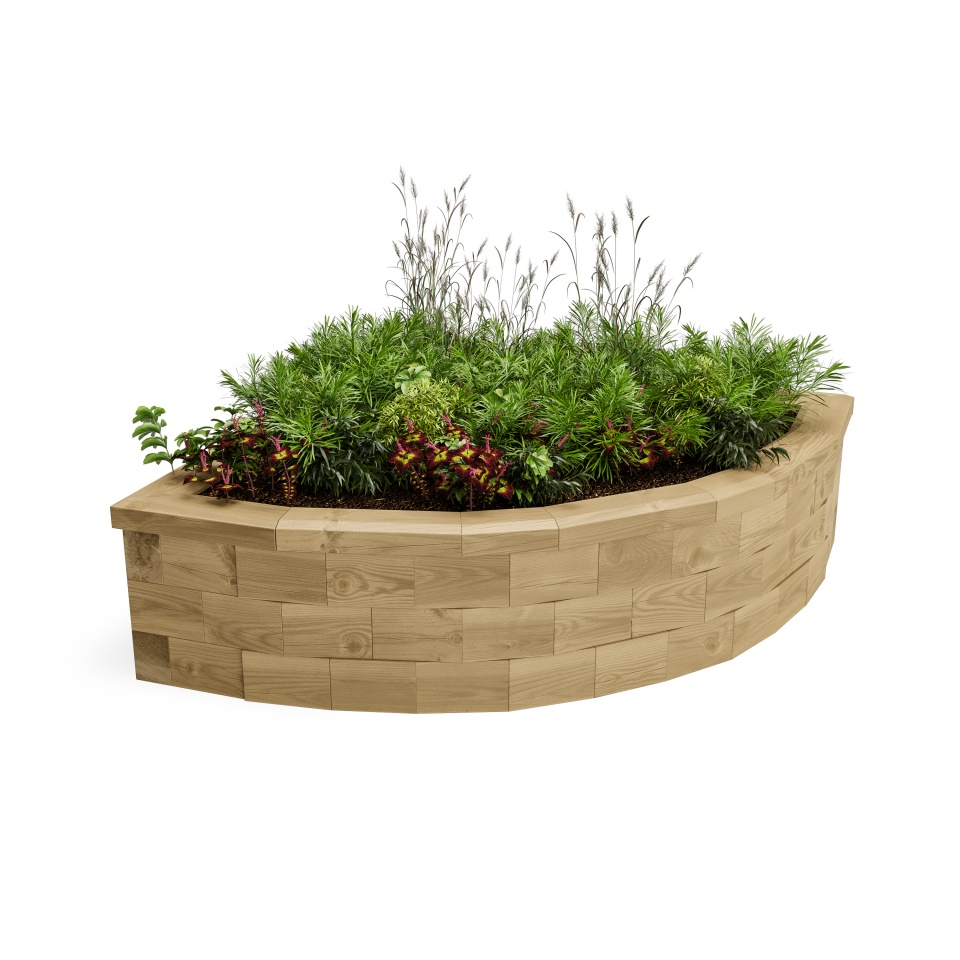Curved Corner Raised Bed / 1125 x 1125 x 350 mm