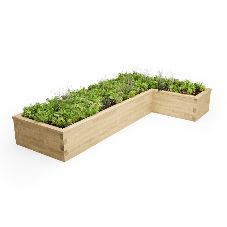 L-Shaped Raised Bed schematic 3D